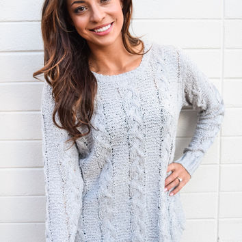 Carbondale Cable Knit Sweater Storm Gray