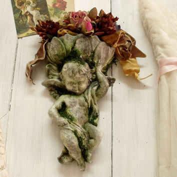 Vintage aged Cherub planter moss stone shelf Angel wall vase distressed old stone
