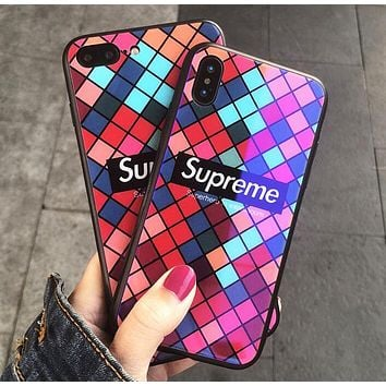Supreme Popular Square Glass Creative Personality iPhone Phone Cover Case For Iphone X phone Shell 7s Iphone 8plus All-Inclusive Shell I12069-1