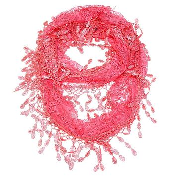 Watermelon Lace Infinity Scarf