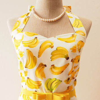 Ready to Ship - Yellow Summer Dress, Banana Dress, Tropical Dress, Fruit Traditional Dress, Yellow Party Dress, Vintage Retro Dress,S,M,L,XL