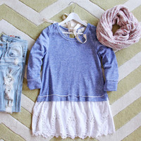 Fall Tale Lace Sweatshirt in Blue