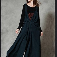 Women's Bib Pants Wide Leg Pants Casual Loose Fitting Plus Size