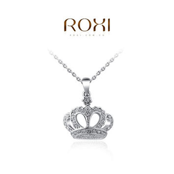 ROXI Gift Classic Crown Pendant Necklace Rose Gold/platinum Plated 100% Hand Made Fashion Women Jewelry Crystal = 1958066180