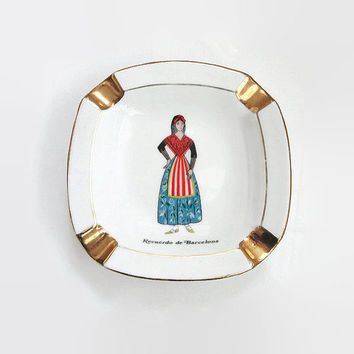 Guillen Porcelain Ashtray, Made in Spain, Catalan Spanish, Senorita Lady, Gold Plated, Souvenir Tourist, Trinket Dish, Vintage Ashtray