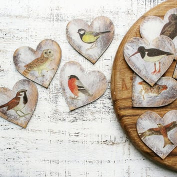 Birds wedding favors wooden heart magnets guest favors bridal shower baby shower rustic birdwatching
