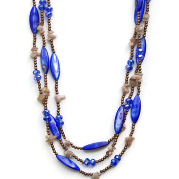 Royal Blue Marquise Mother of Pearls Necklace, Extra Long Multi Strand Wrap Necklace, Boho Chic Jewelry, OOAK Handmade Unique, ALFAdesigns