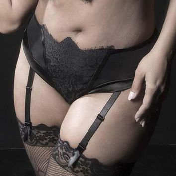 Sexy Lace High Waisted Plus Size Panty with Satin Lining and Detachable Garters