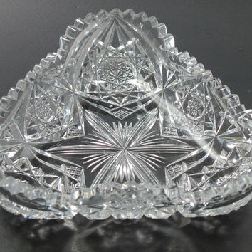 Signed Libbey triangle dish American Brilliant Period hand Cut Glass  Antique