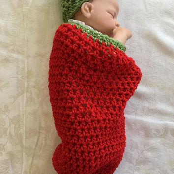 Crochet Red Hot Chili Pepper Swaddle Cocoon & baby  Hat
