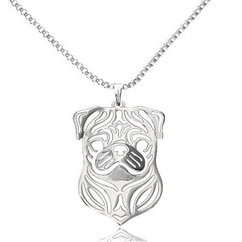 Fashion Boxes Chain Pug Dog Shaped Hollow Out Pendant Necklace for Couples