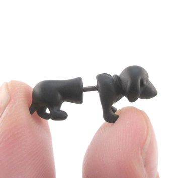 3D Dachshund Puppy Dog Shaped Front and Back Stud Earrings in Black