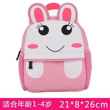 Cartoo animal Cute rabbit children baby boys girls canvas schoolbag Children gift Backpacks Cute fashion personality Anti-lost