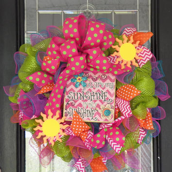 Summer Wreath, You are my Sunshine Decoration, Deco Mesh Wreath, Front Door Wreath, Wreath for Door, Gift, Ready to Ship