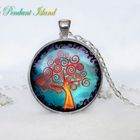 TREE OF LIFE Pendant  Tree of life Necklace Blue White Silver Jewelry Necklace for him Gifts for Her Family tree of life pendant(P3H04V05)