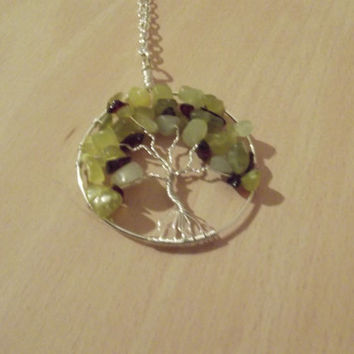 Wire Pendant - Silver Wire Garnet and Lemon Jade Apple Tree of Life Pendant Hand Made