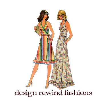 1970s Front-Wrap HALTER DRESS Ruffled Skirt Bust 34 36 Simplicity 7484 Womens Boho Spring Summer Maxi Dress 2 Lengths Vintage Sewing Pattern