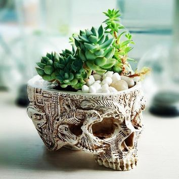 Hand-Carved Skull Flower Pot