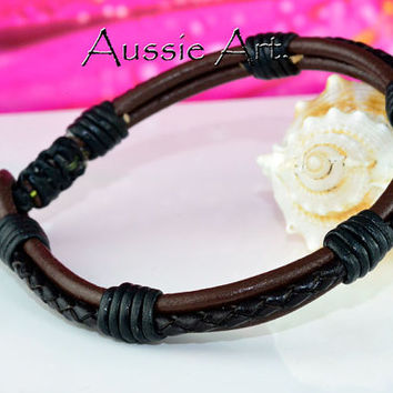 B-141 Finely Crafted Leather Hematite Stone New Bangle Wristband Men Bracelet