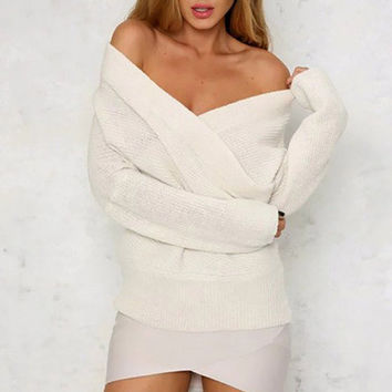 Fashion Women Knitted Sweaters V Neck Long Sleeve Cross Wrap Front Warm