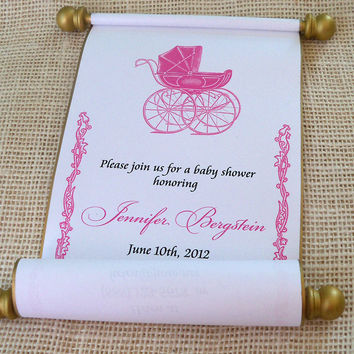 Royal prince or princess baby shower invitation scrolls with baby carriage