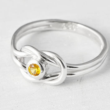 November Birthstone Ring, Knot Promise Ring, Friendship Ring, Infinity Knot Birthstone, Yellow Birthstone Ring, Citrine Ring, Citrine CZ