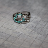 Silver Heart Ring with blue Jewels.  Size 6. Great Gift.
