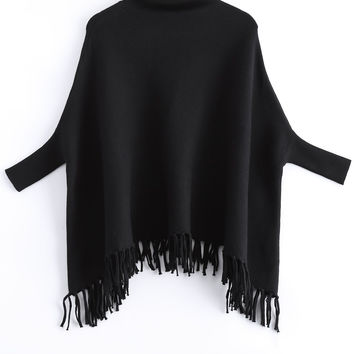 Turtle Neck Fringed Batwing Sleeves Sweater
