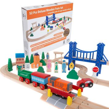 Orbrium Toys 52 Pcs Deluxe Wooden Train Set with 3 Destinations Fits Thomas Brio Chuggington Melissa and Doug Imaginarium Wooden Train