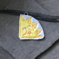 Sunny ceramic pendant with Marylinn Kelly's Art stamp