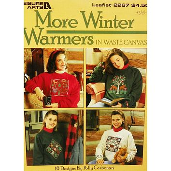 More Winter Warmers in Waste Canvas - Counted Cross Stitch Leaflet - Leisure Arts
