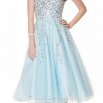 Sparkle Tea Length Tulle Prom Gown from Shimmer by Bari Jay