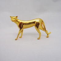 Vintage Frankling Mint Egyptian Curio Cat Figurine, Brass Cat Figurine
