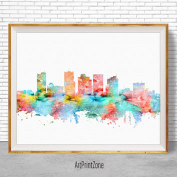 Phoenix Arizona, Phoenix Skyline, Phoenix Print, Office Decor, City Skyline Prints, Skyline Art, Office Wall Art, ArtPrintZone