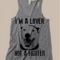 Womens PITBULL I'm a Lover not a Fighter Tri Blend Tank Top American Alternative Apparel Gray, Blue Pit Bull S M L XL
