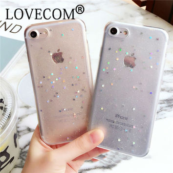 Bling Glitter Transparent Soft TPU Phone Case For iPhone 7 For iPhone 6 6S 7 Plus Sparkling Stars Shinning Clear Phone Back Case