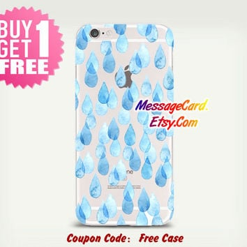 Raindrops Clear Phone Case Cover , Personalized Clear iPhone 6 6s Case , Crystal Clear iPhone 6 6s plus Case , Custom Clear iPhone 6 6s Case