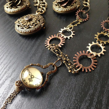 Steampunk Gear and Clock Statement Necklace, Watch Jewelry, Steampunk Vintage Clock Necklace with Gears, Orb Clock Pendant Necklace for Her