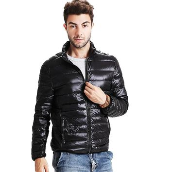 ABOORUN 2016 New Mens 91%-95%White Duck Down Jacket Ultralight Down Warm Coat for Winter P5056
