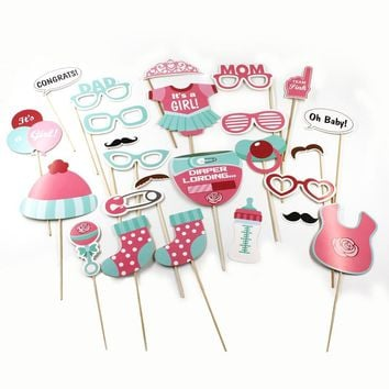 24pcs Baby Shower Photo Booth Props Its A Boy Girl 1st Birthday Party Photography Funny Masks Glasses Decoration Party Favor