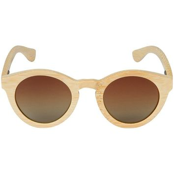 Light Grain Bamboo Wood Sunglasses with Round Frame