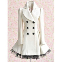 Women Fashion Double-Breasted Woolen Dress Coat = 1956191620