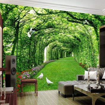 Custom Photo Wallpaper For Walls 3 D Green Forest Tree Lawn 3D Stereo Space Backdrop Wall Paper Home Decor Mural Papel De Parede