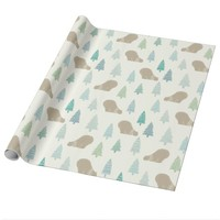 Cute Bears and Trees Christmas Wrapping Paper