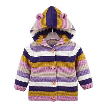 Fashion Baby Boy Girl Sweaters 3M-2T Cute Hooded Kids Colorful Striped Knitted Sweater Autumn Winter Cardigan Girls Clothes