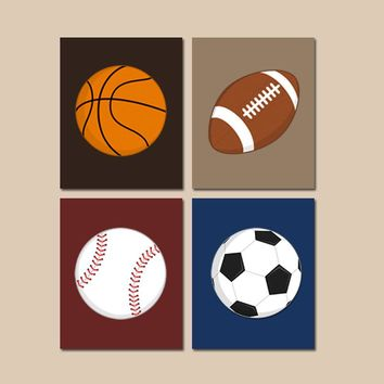 SPORTS Wall Art,CANVAS or Prints,BOY Sport Theme Nursery,Big Boy Bedroom,Sports Balls Decor,Soccer Football Baseball Basketball Set of 4
