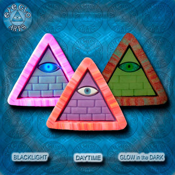 Purple and Orange Glow in the Dark Illuminati Pyramid Pendant EyeGloArts glowing jewelry