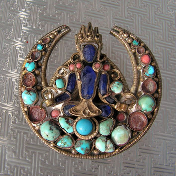 Tibetan Brooch Buddha Indian God Brass Pin Turquoise Coral Glass Mosaic Jewelry