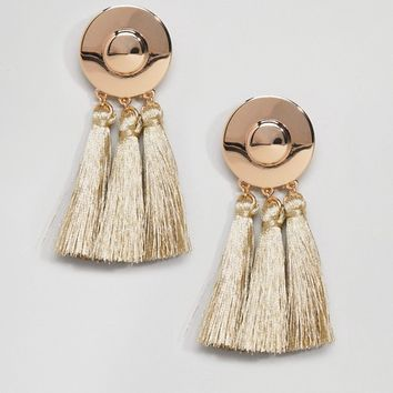 ASOS Metal Disc Tassel Earrings at asos.com