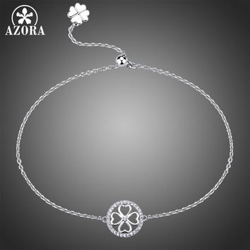 AZORA Circle Flower Clear Cubic Zirconia Adjustable Slide Chain Bracelet Lady Charming Small Bracelet Party Jewelry Gift TS0185